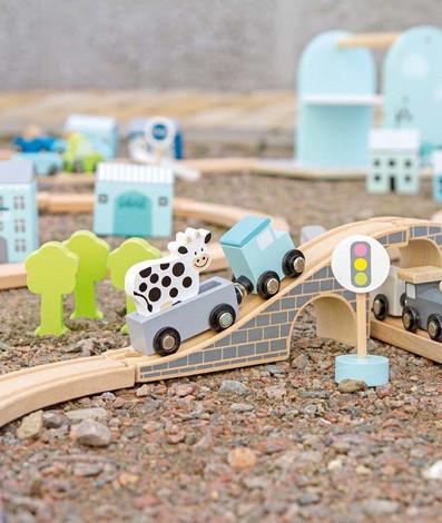 Imagine Set masinute cu accesorii si sine, Albastru