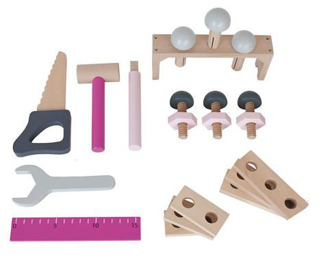 Imagine Cutie cu scule, din lemn, Roz