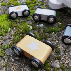Cursa cu masinute - Silver, din lemn