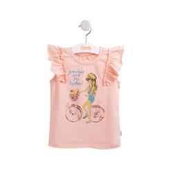 "Compleu de vara ""Bicycle girl"" roz cu verde"