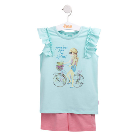 "Compleu de vara ""Bicycle girl"" verde cu roz F1"