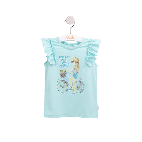 "Compleu de vara ""Bicycle girl"" verde cu roz F3"