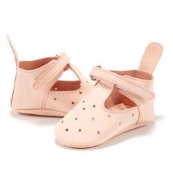 Moonie's - Papucei de piele pentru bebelusi Roz pal F1