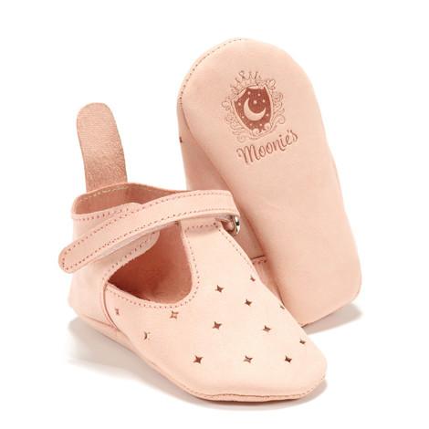 Moonie's - Papucei de piele pentru bebelusi Roz pal F2