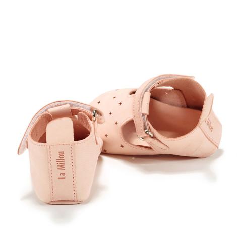 Moonie's - Papucei de piele pentru bebelusi Roz pal F3