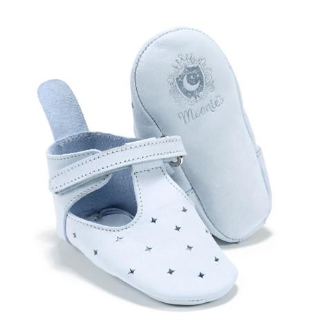 Moonie's - Papucei de piele pentru bebelusi Bleu F2