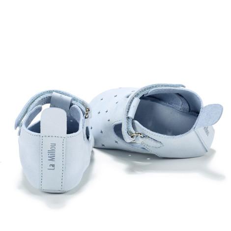 Moonie's - Papucei de piele pentru bebelusi Bleu F3