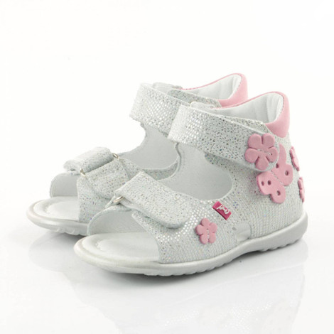 Sandale ortopedice din piele - handmade - EMEL alb F1