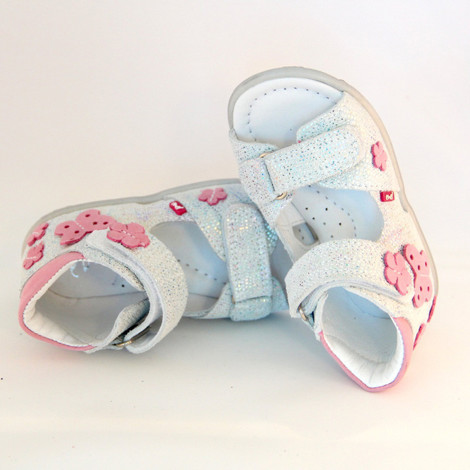 Sandale ortopedice din piele - handmade - EMEL alb F3