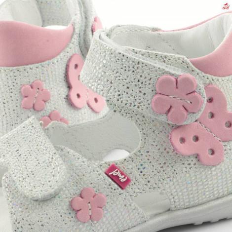 Sandale ortopedice din piele - handmade - EMEL alb F5