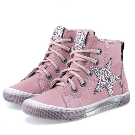 Incaltaminte din piele - handmade - Emel roz cu stea F1