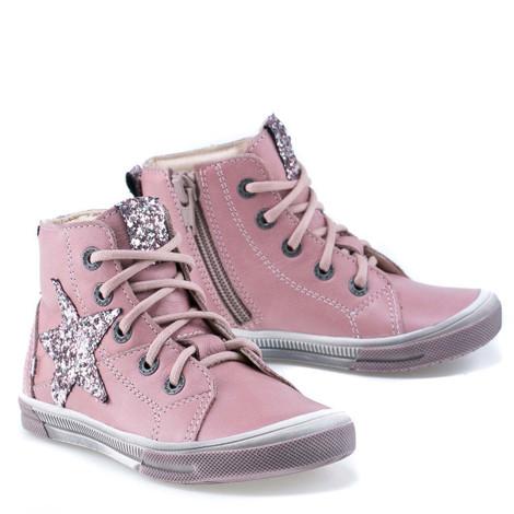 Incaltaminte din piele - handmade - Emel roz cu stea F3