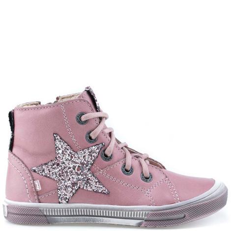 Incaltaminte din piele - handmade - Emel roz cu stea F2