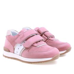 Incaltaminte din piele - handmade - Emel roz cu alb F1