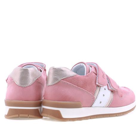 Incaltaminte din piele - handmade - Emel roz cu alb F2