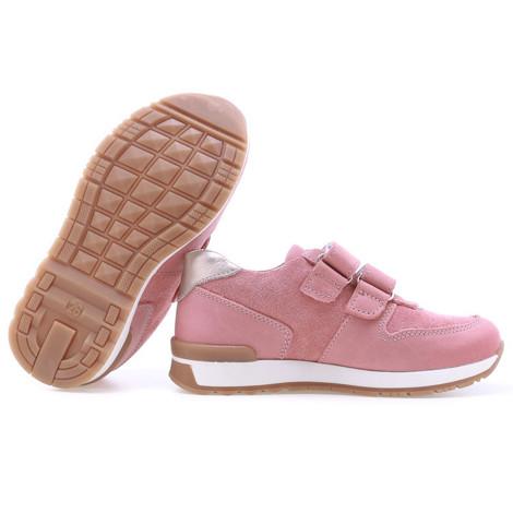 Incaltaminte din piele - handmade - Emel roz cu alb F3
