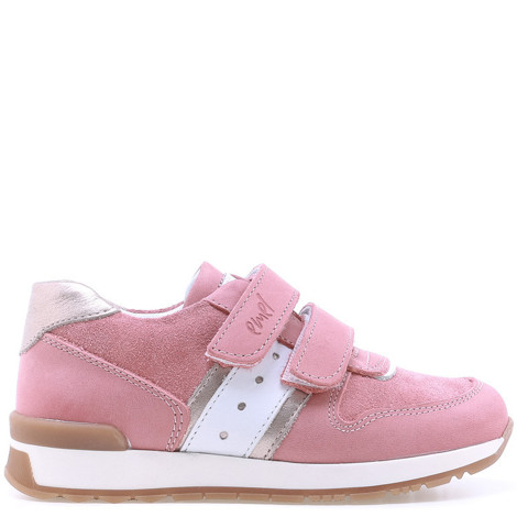 Incaltaminte din piele - handmade - Emel roz cu alb F4