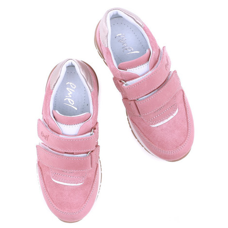Incaltaminte din piele - handmade - Emel roz cu alb F5
