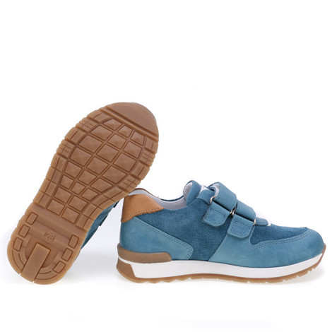 Incaltaminte din piele - handmade - Emel albastru cu alb F2