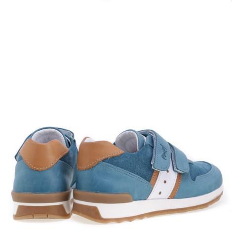 Incaltaminte din piele - handmade - Emel albastru cu alb F3