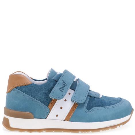 Incaltaminte din piele - handmade - Emel albastru cu alb F4