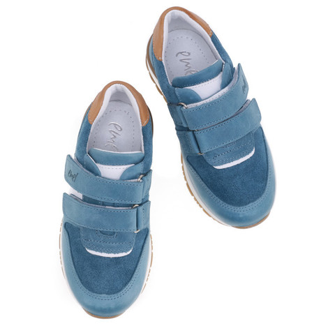 Incaltaminte din piele - handmade - Emel albastru cu alb F5