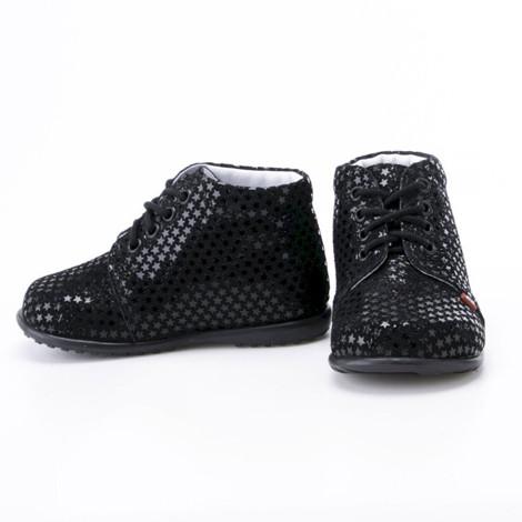 Incaltaminte din piele - handmade - Emel negru cu stelute F2