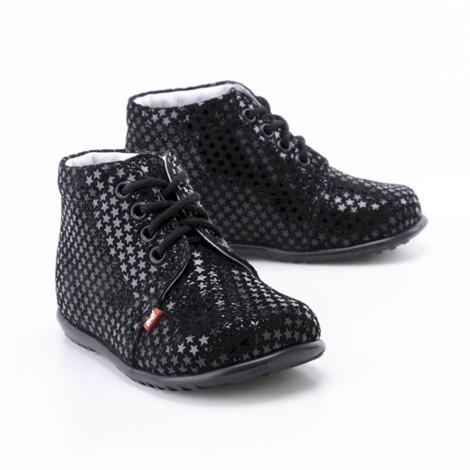 Incaltaminte din piele - handmade - Emel negru cu stelute F3