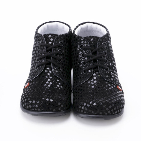 Incaltaminte din piele - handmade - Emel negru cu stelute F6