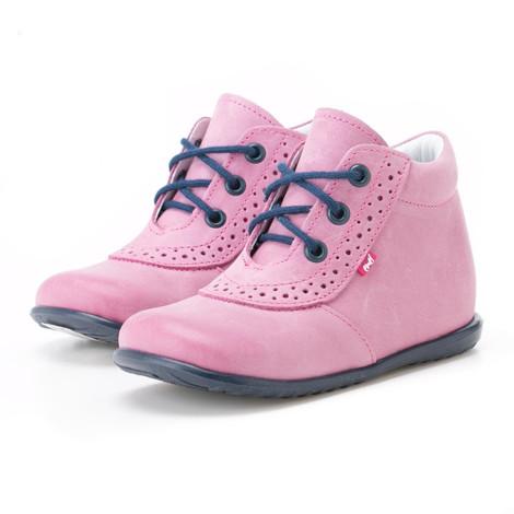 Incaltaminte din piele - handmade - Emel roz cu bleumarin F1