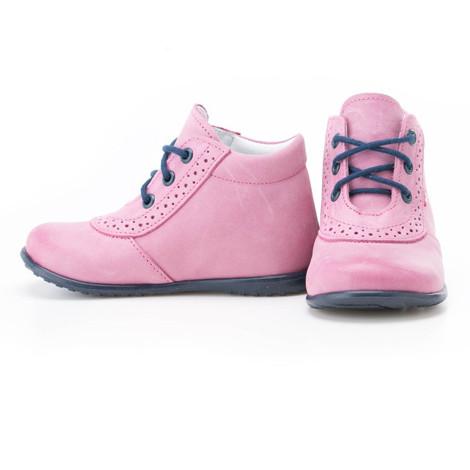 Incaltaminte din piele - handmade - Emel roz cu bleumarin F4