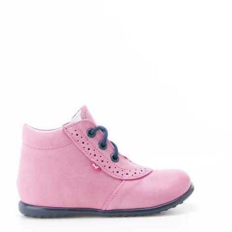 Incaltaminte din piele - handmade - Emel roz cu bleumarin F5