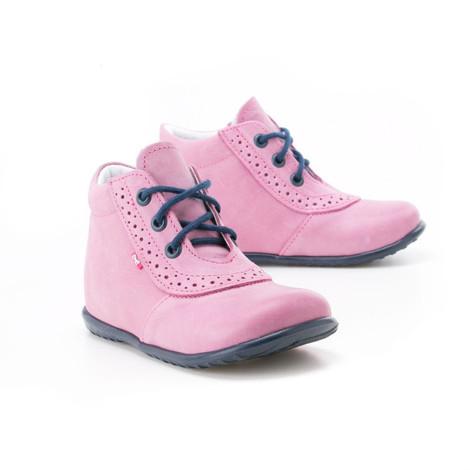 Incaltaminte din piele - handmade - Emel roz cu bleumarin F6