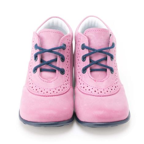 Incaltaminte din piele - handmade - Emel roz cu bleumarin F8