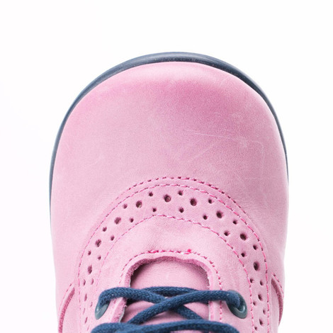 Incaltaminte din piele - handmade - Emel roz cu bleumarin F9