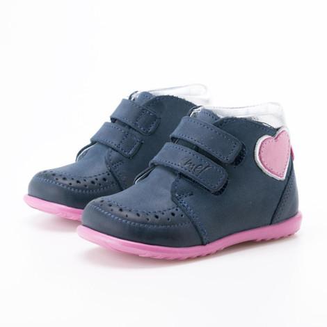 Incaltaminte din piele - handmade - Emel albastru cu roz F1