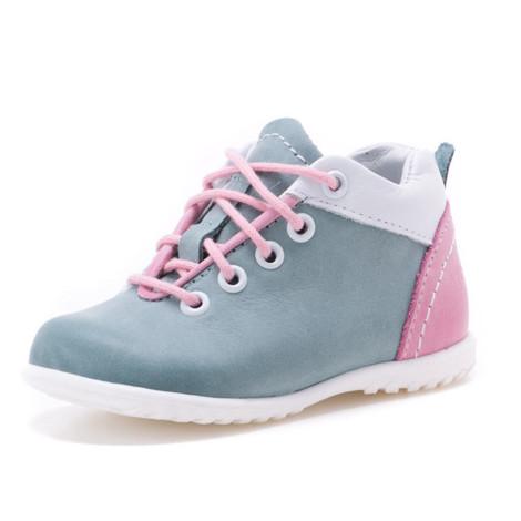 Pantofi din piele - Handmade - Emel verde cu roz F1