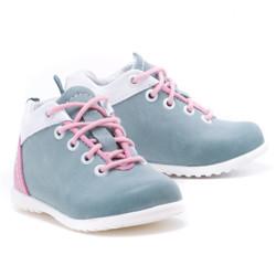 Pantofi din piele - Handmade - Emel verde cu roz F2