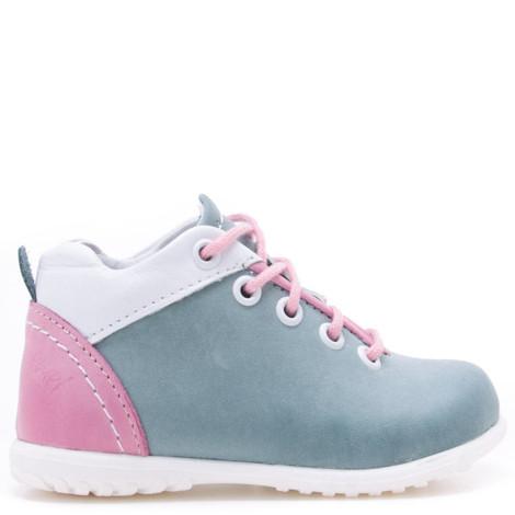 Pantofi din piele - Handmade - Emel verde cu roz F3
