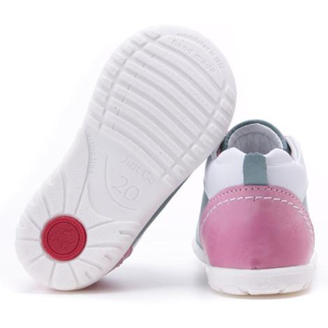 Pantofi din piele - Handmade - Emel verde cu roz F5