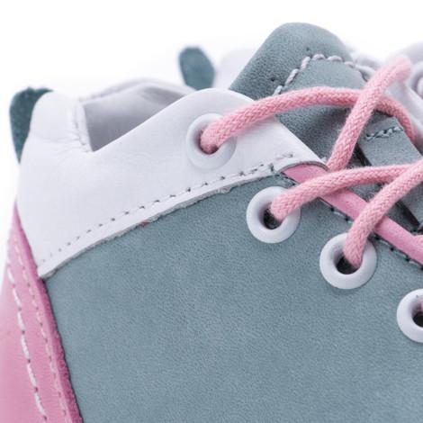 Pantofi din piele - Handmade - Emel verde cu roz F6