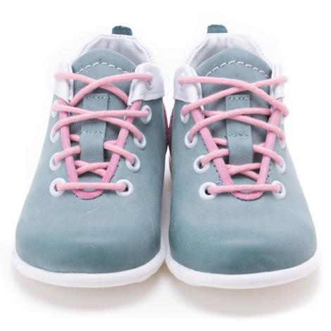 Pantofi din piele - Handmade - Emel verde cu roz F7