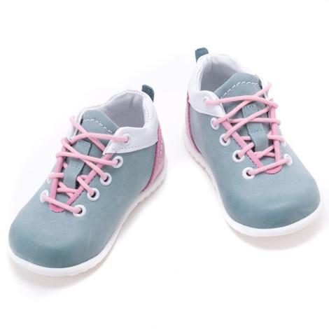 Pantofi din piele - Handmade - Emel verde cu roz F8