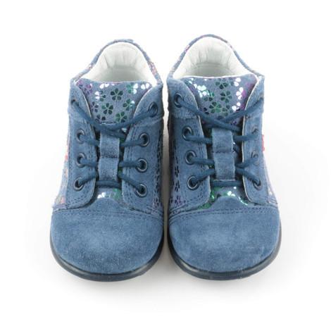 Pantofi din piele - Handmade - Emel albastri F5