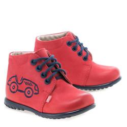 Pantofi din piele - handmade - EMEL rosu F1