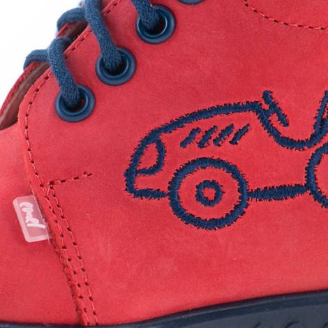 Pantofi din piele - handmade - EMEL rosu F5