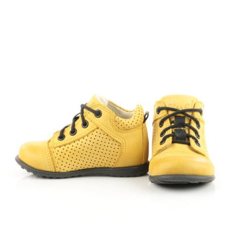 Pantofi Ortopedici din Piele Emel - Handmade galben F5