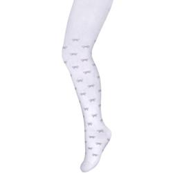 Imagine Ciorapi fetite albi cu model gri