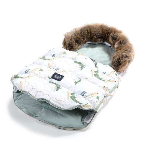 Imagine Sac pentru carucior Aspen COMBO - Waterproof - Heron in a cream Lotus & Smoke  Mint