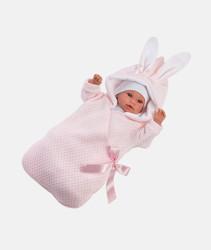 Imagine Bebelus cu saculet roz, cu sunete